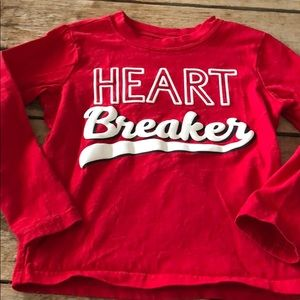 Carters size 5 T red long sleeve t shirt